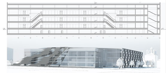 Concept project for mixed-use residential cluster © Grigoriy Malitskiy. Section, 3d