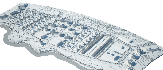 Project for the dormitory suburb for 1000 inhabitant © Grigoriy Malitskiy. Bird view