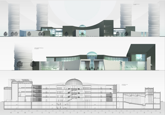 Сonceptual design for HSE (higher school of economy) Campus © Maria Malitskaya. Building sides, section